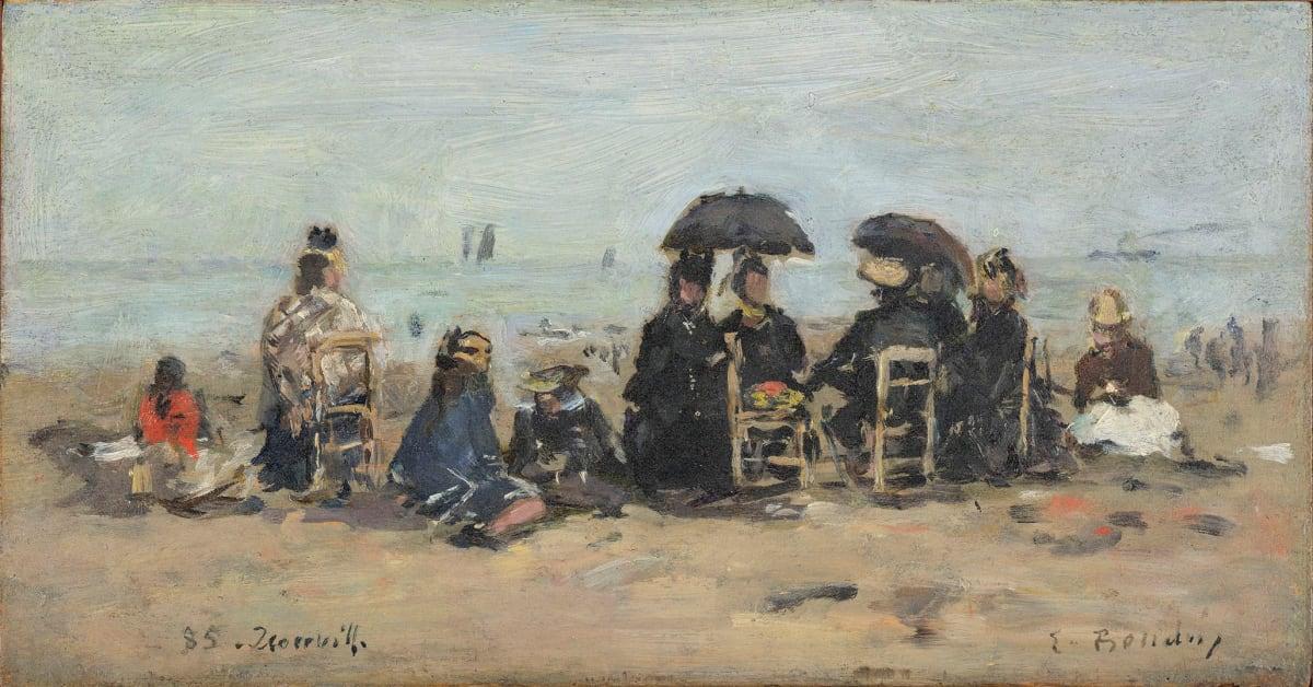 Eugène Boudin, Trouville, scène de plage, 1885