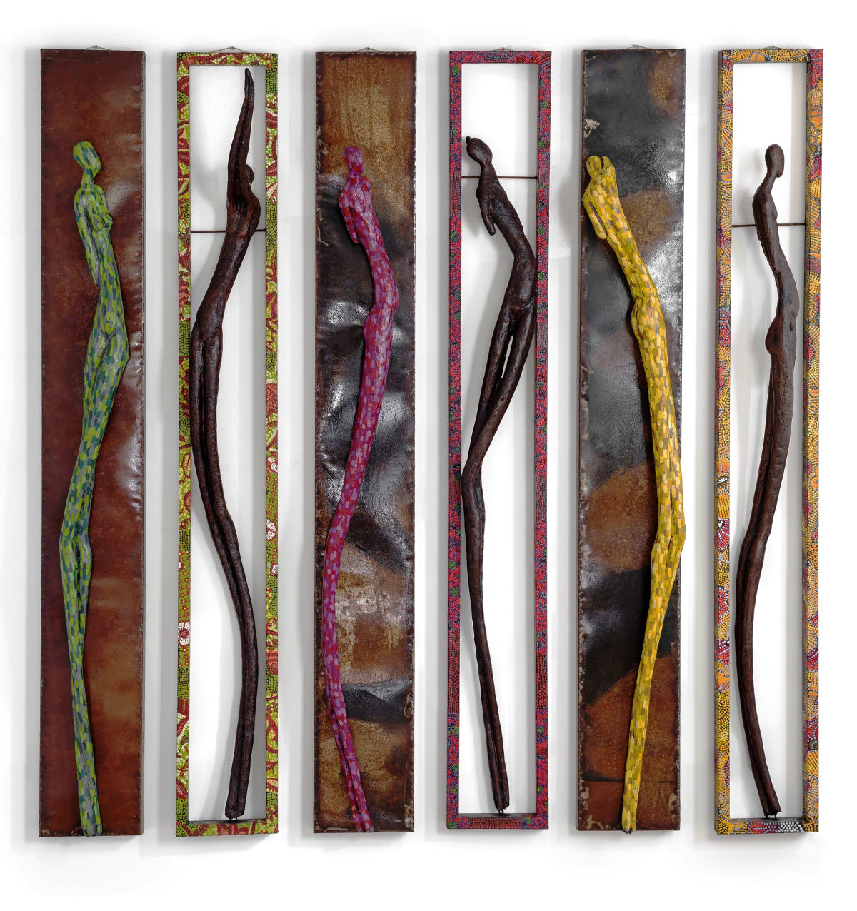 P Ju Alatise Ibeji Sticks 2016 Wrought Iron Acrylic Fibreglass Cast 178 X 23 X 6 Cm Each 2