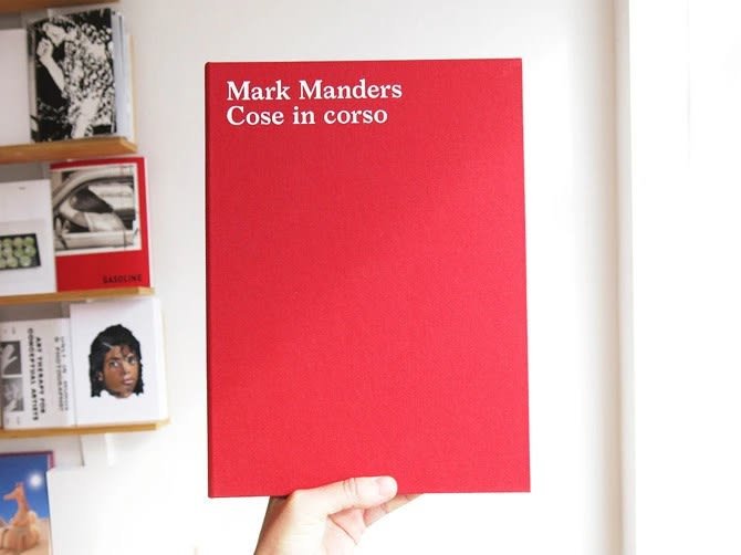 Book cover of Mark Manders / Cose in corso held in hand