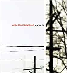 """Black and white book cover with red and black title. Uta Barth """"White Blind (Bright Red)"""" exhibition catalogue"""