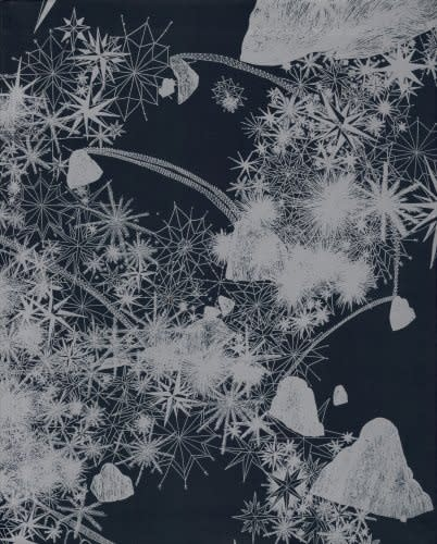 "Exhibition catalogue cover for Sandro Cinto exhibition ""Construction"". Pale silver silhouettes of snowflakes and plants on a dark blue background."