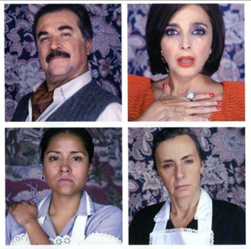 "Exhibition catalogue cover for Phil Collins ""Soy Mi Madre"". Four portrait of Latinx people in a grid: an older man with a mustache wearing a cravat, a light-skinned woman with short dark hair clutching her chest with a shocked expression, a dark skinned m"