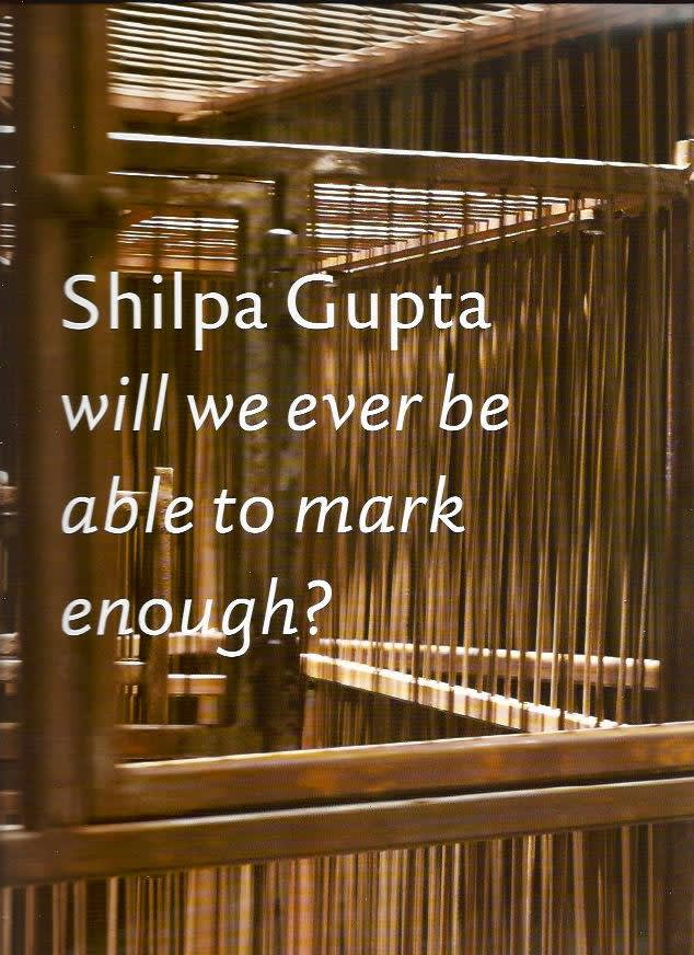 Exhibition catalogue book cover. Close up photo of sunlight hitting wooden dowel cages. Title text: Shilpa Gupta: will we ever be able to mark enough?