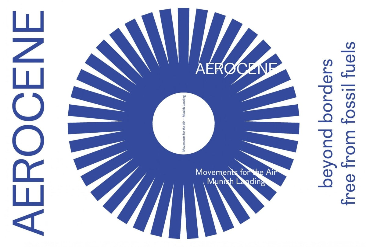 Book cover: blue wheel shape in the center. Text: Aerocene Movements for the Air Munich Landind, beyond border free from fossil fuels