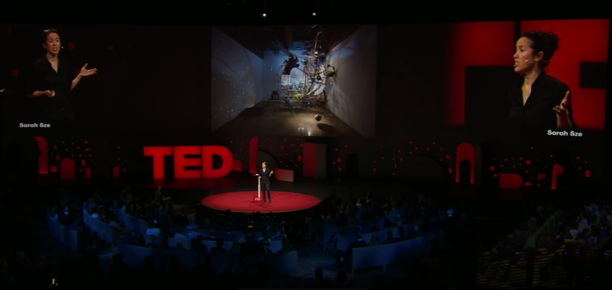 Sarah Sze talking at TED talk in 2019