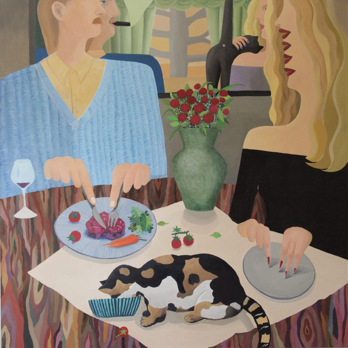Valentine's Dinner , 2018 oil on canvas 152.4 x 152.4 cm. Courtesy of the Artist and Taymour Grahne