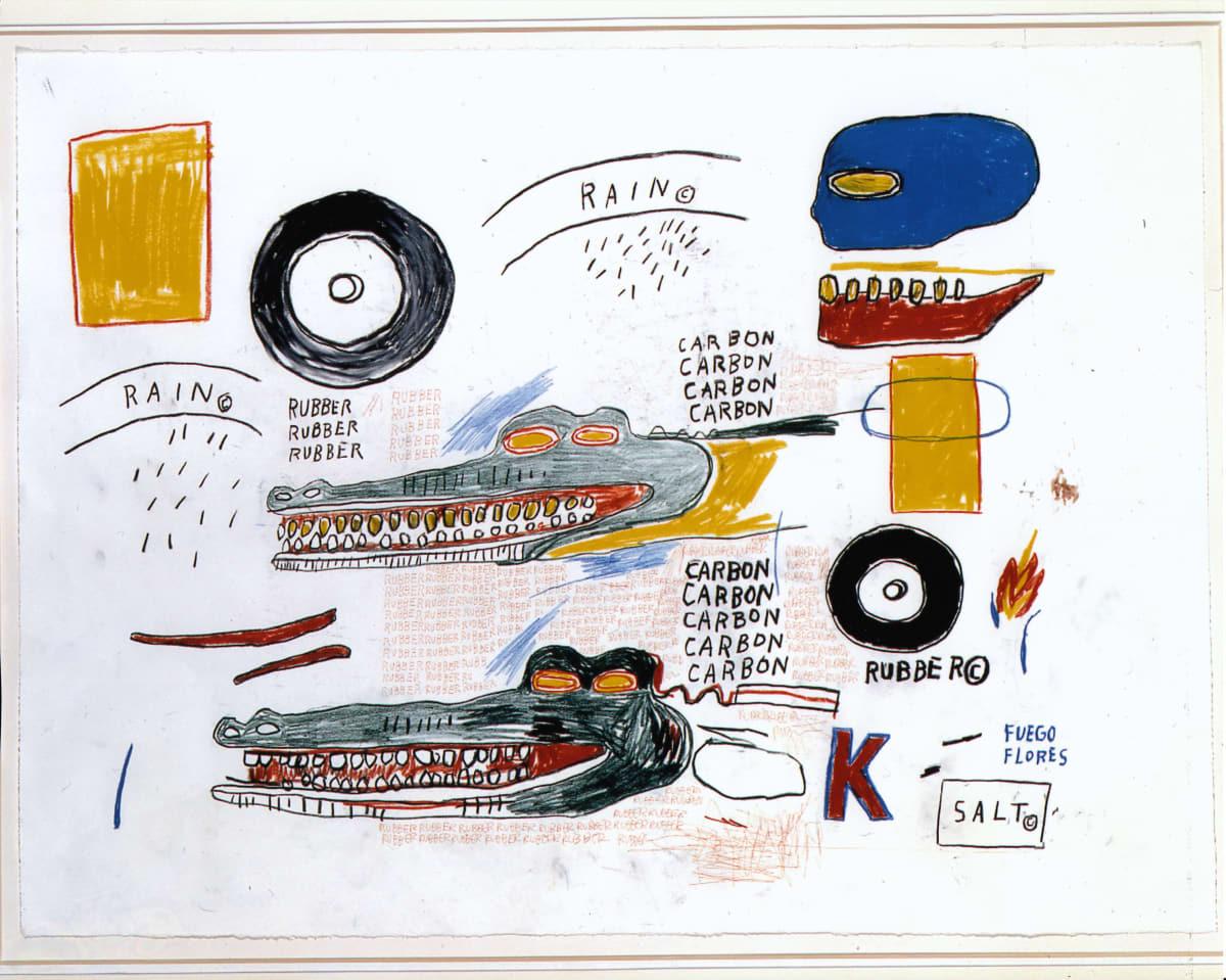 Jean-Michel Basquiat IZOD, 1984 Oilstick and ball point pen on paper 55.9 x 76.2 cm