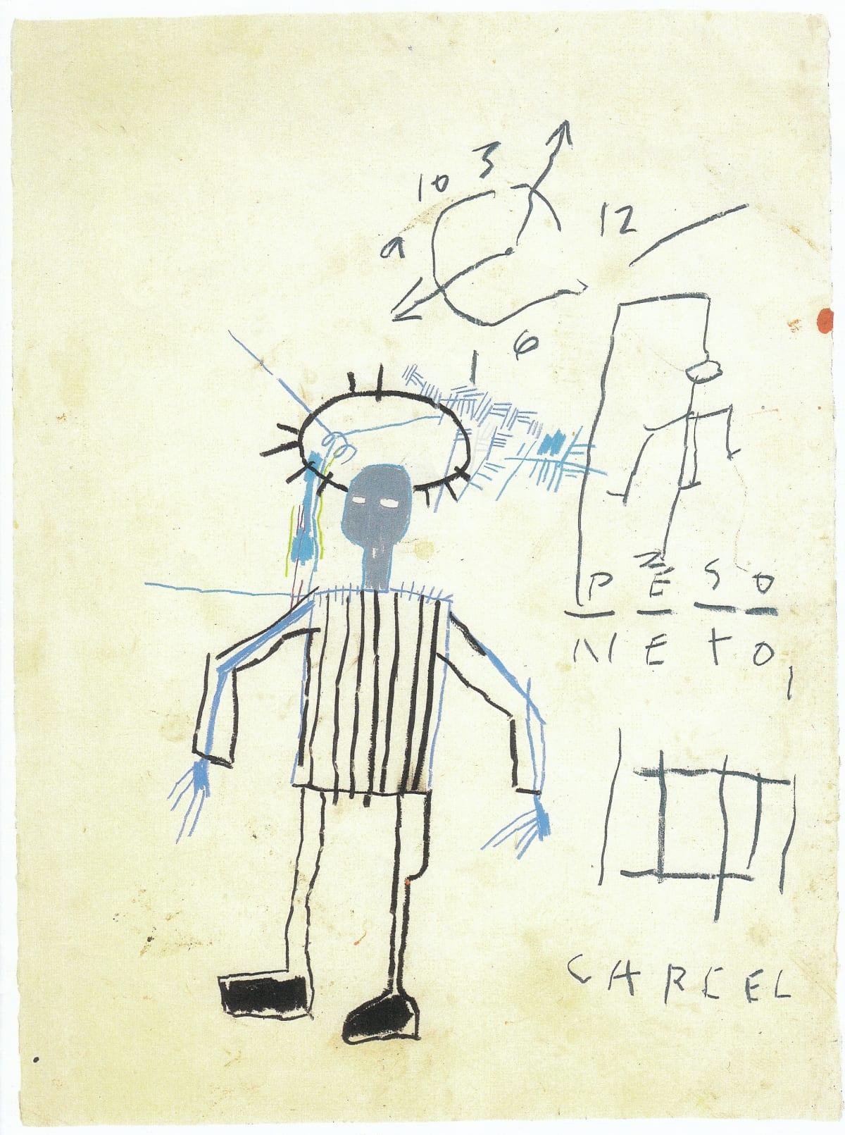 Jean-Michel Basquiat Untitled (Peso Neto), 1981 Crayon on Notebook Paper 76.2 x 56.5 cm