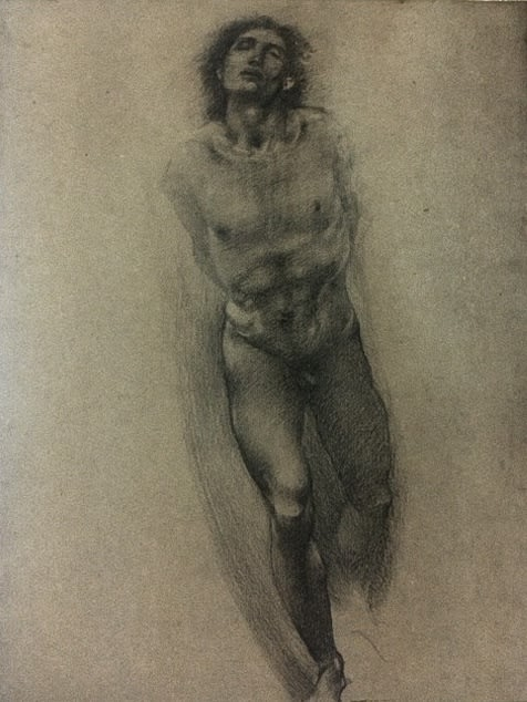 Sir Edward Coley Burne-Jones Study for the central figure in 'The Car of Love'. Charcoal on Paper SOLD