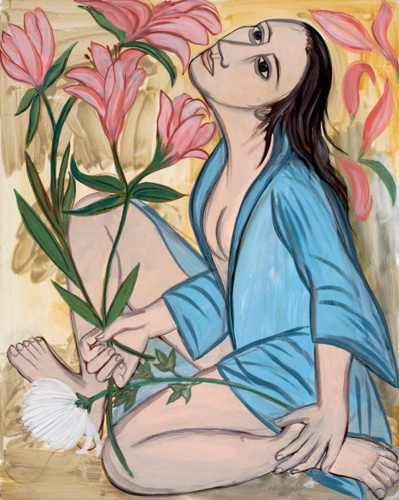 Eileen Copper RA 'Fiore', 2015 Mixed media on board 100 x 80cm SOLD