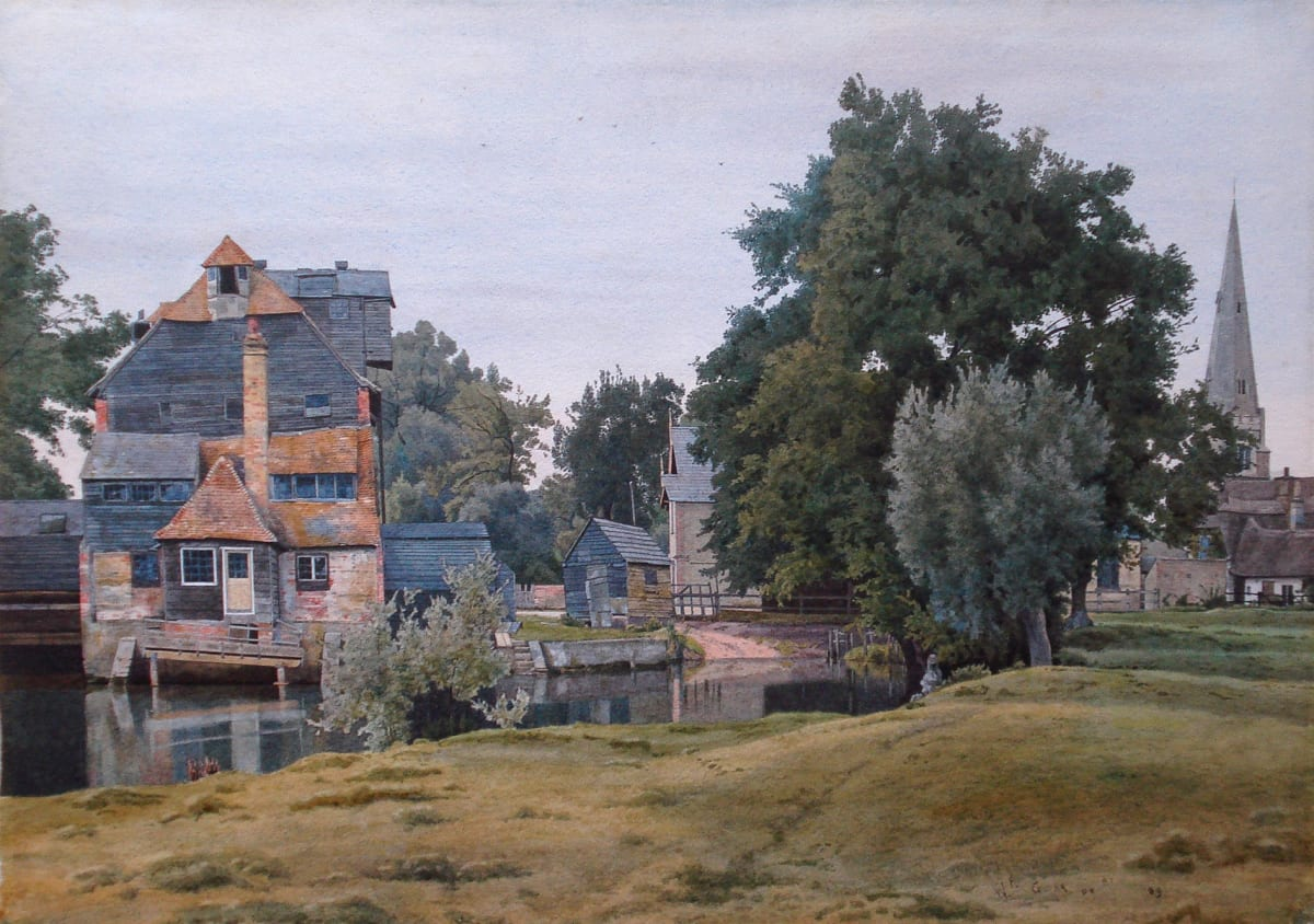 Willam Fraser Garden Houghton Mill at St. Ives Hunts on the River Ouse, 1889 Watercolour 11 x 15 inches SOLD