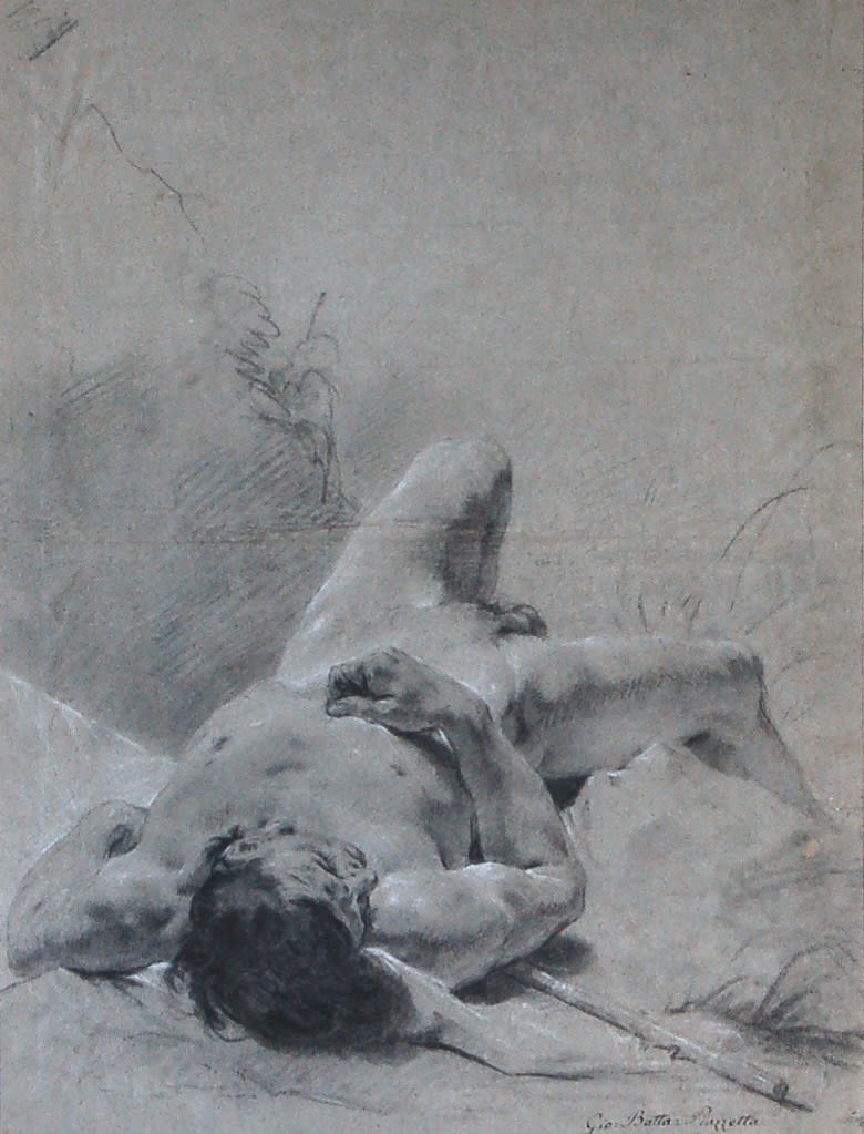 Giovanni Battista Piazzetta Nude youth sprawled on his back, upon a bank, lying on a standard Black & white chalks 20 x 15 inches SOLD