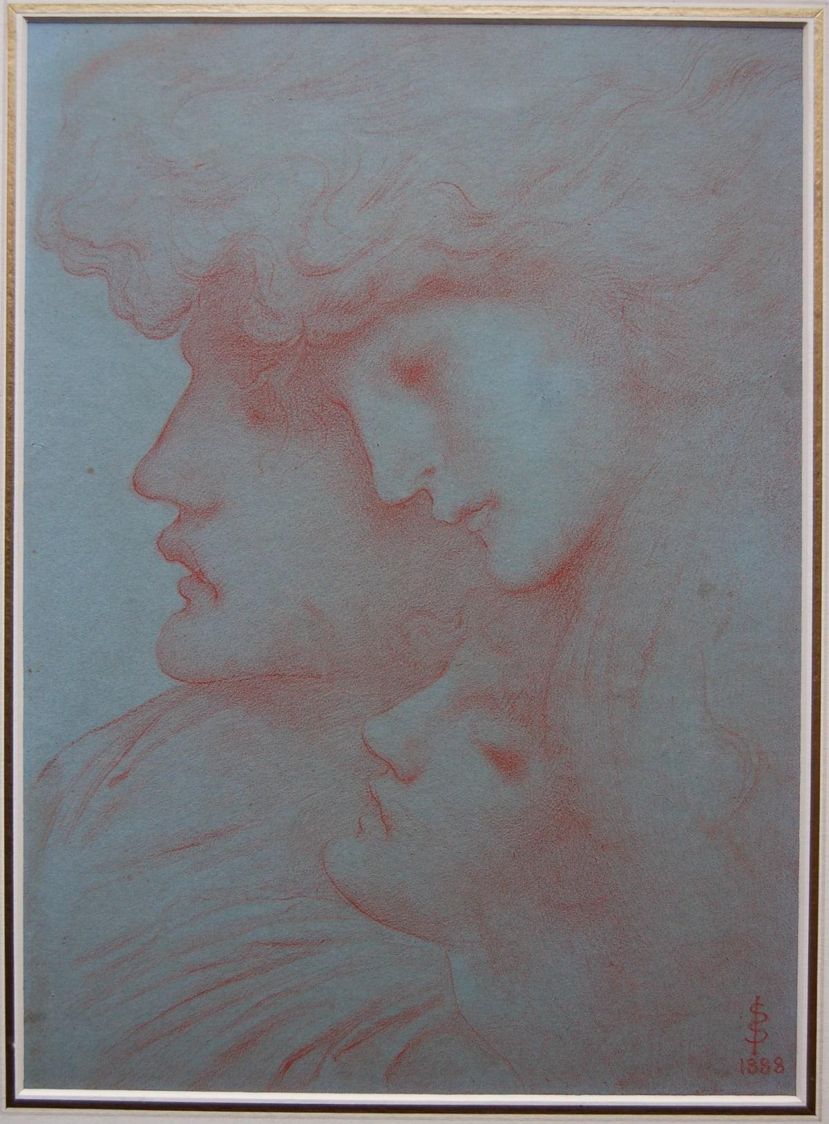 Simeon Solomon 'Sleep' Red chalk on blue paper, 1888 SOLD
