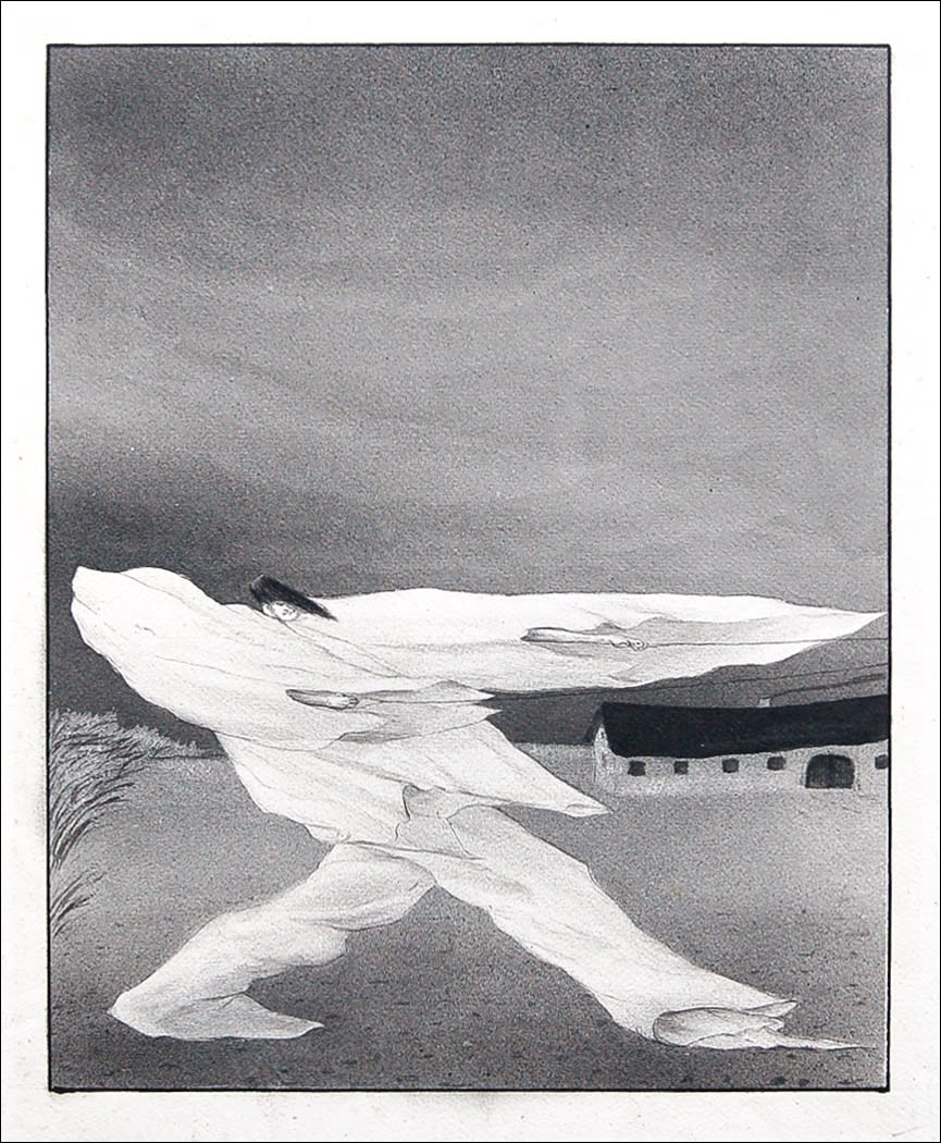 Alfred Kubin 'Sturm', 1905 Ink, grey wash, spritztechnik on paper 11 x 9 inches SOLD