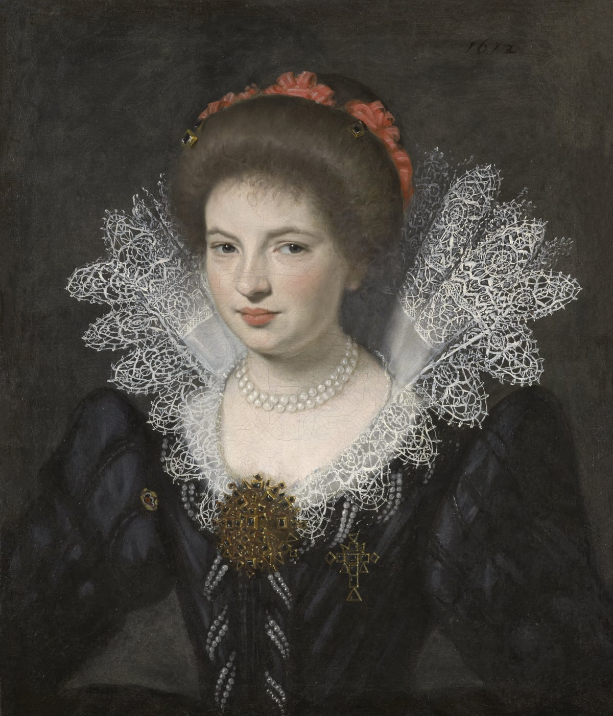 Circle of Daniel Dumonstier (1574 – 1646) An Unknown French Noblewoman , 1612 Oil on canvas 24 ¼ x 21 in. (61.7 x 53 cm.)
