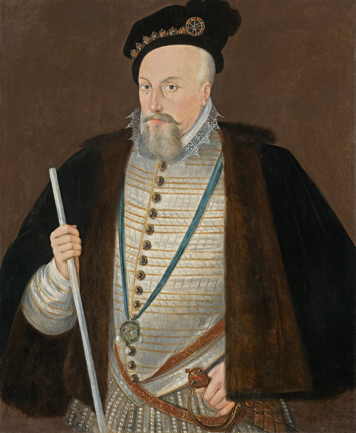 Attributed to Sir William Segar (c.1554 – 1633) Robert Dudley, 1st Earl of Leicester (1532 – 1588), circa 1587 Oil on panel 35 x 29 ¾ in. (88.9 x 75.6 cm.)