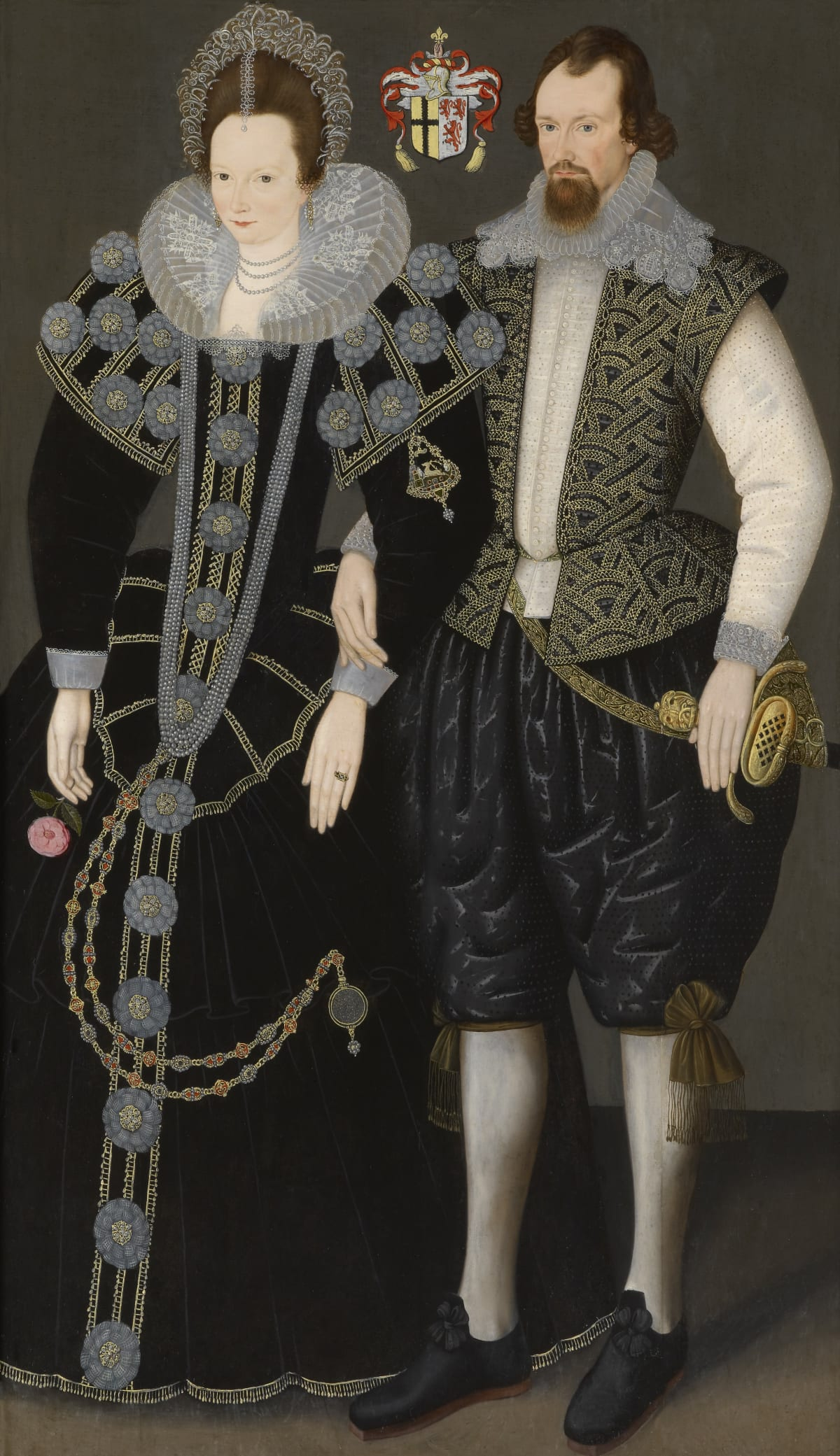 Unknown Follower of Custodis (fl. 1592 – 1612) Sir Reginald Mohun, 1st Bt. of Hall and Boconnoc (c.1564 – 1639) and his wife, Dorothy Chudleigh of Ashton, Devon, circa 1604 Oil on panel 75 x 44 in. (190.5 x 111.4 cm.)
