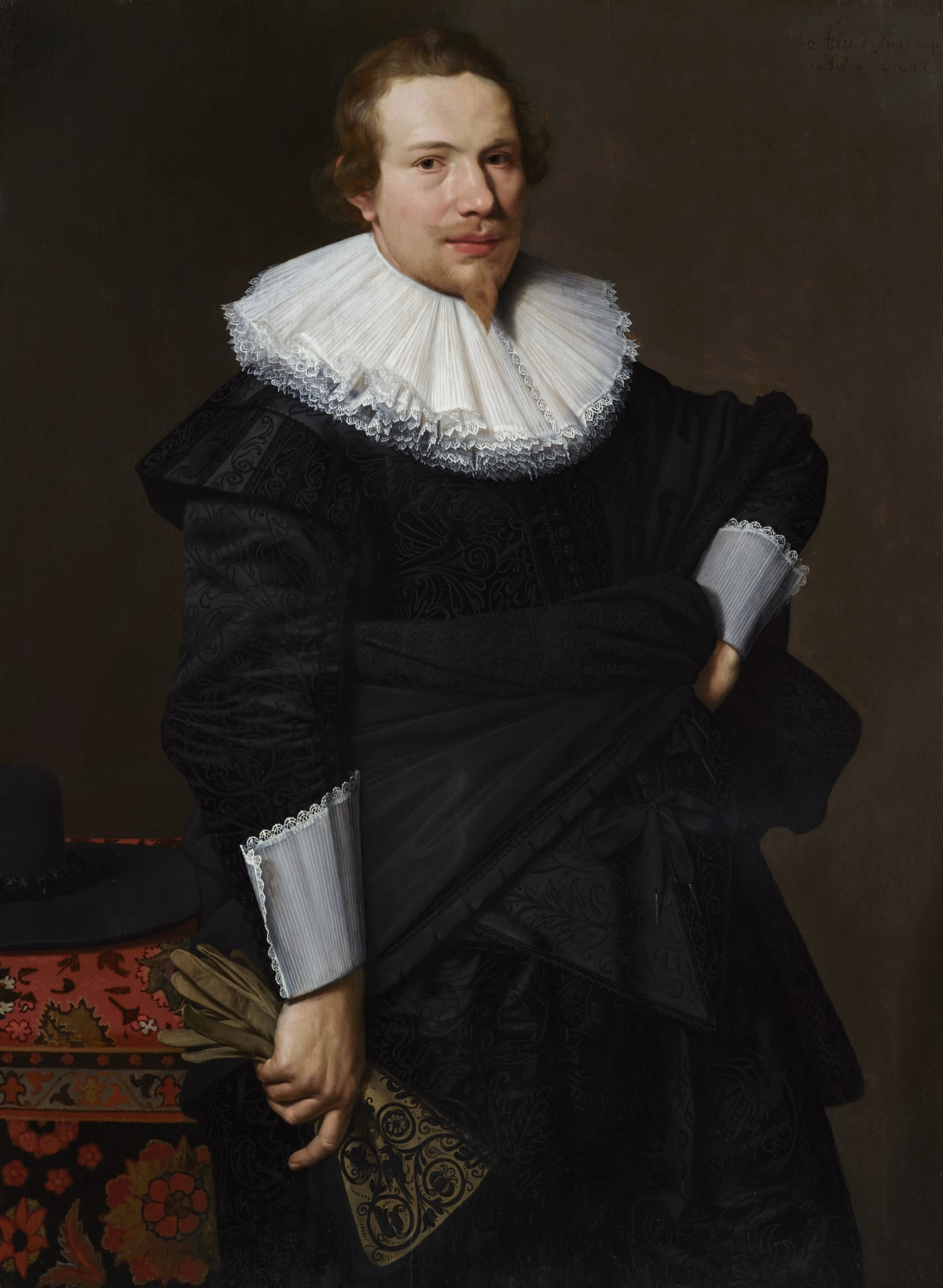 Nicolaes Eliasz. Pickenoy (1588 – 1650/56) An Unknown Gentleman, aged 24, 1628 Oil on panel 47 x 34 ⅜ in. (119.2 x 87.2 cm.)
