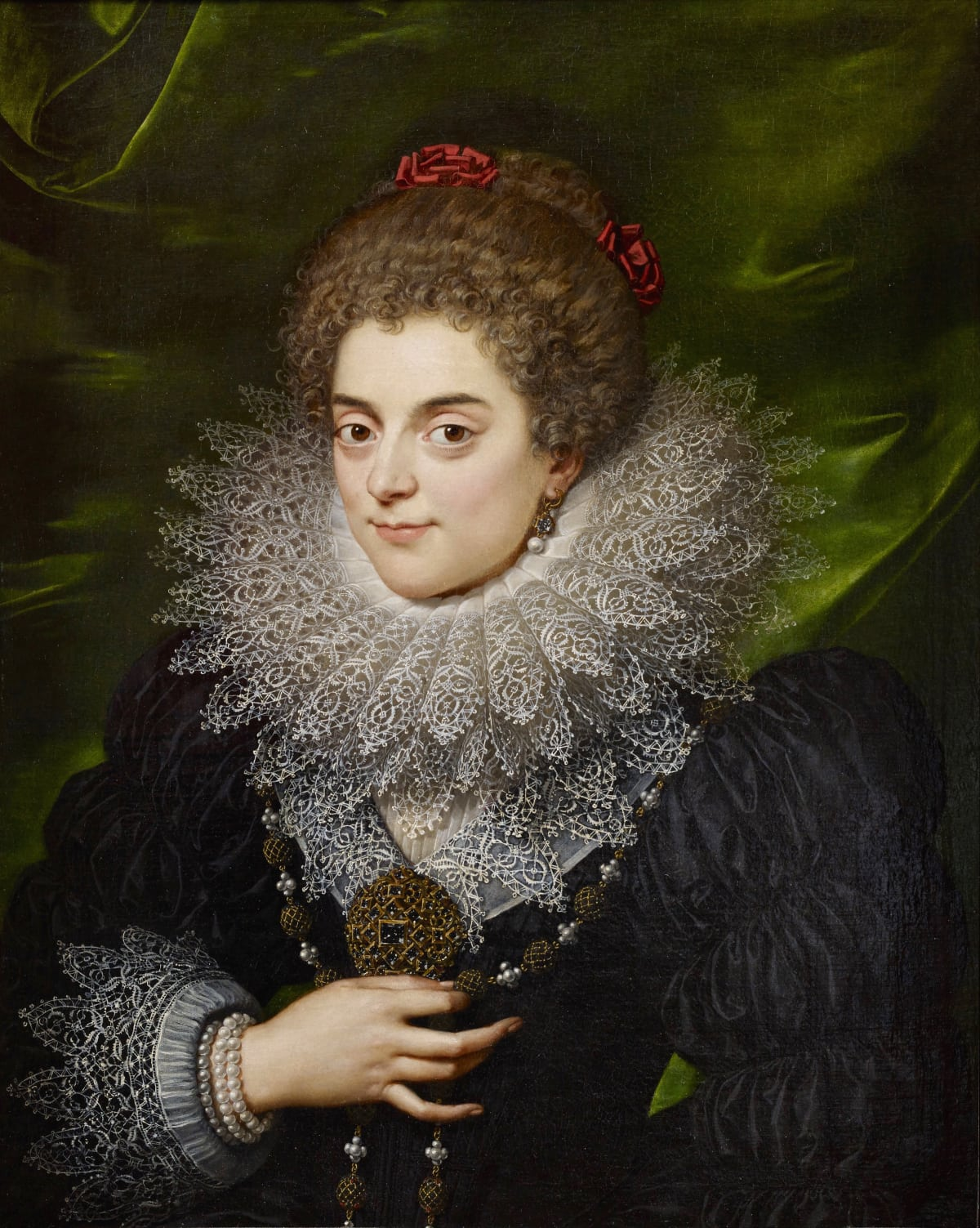 Frans Pourbus the Younger (1569 - 1622) An Unknown Noblewoman of the Bourbon Court, 1615 Oil on canvas 29 ½ x 22 7/8 in. (75 x 58 cm.)