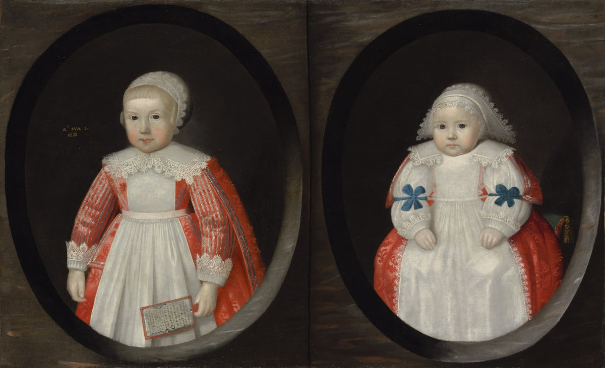 English School, 1633 Two young children of the Courtenay family, possibly Anne (b. 1630) and Susan (b. 1632) Courtenay, 1633 Oil on canvas 26 ¾ x 43 ½ in. (67.8 x 110.5 cm.)