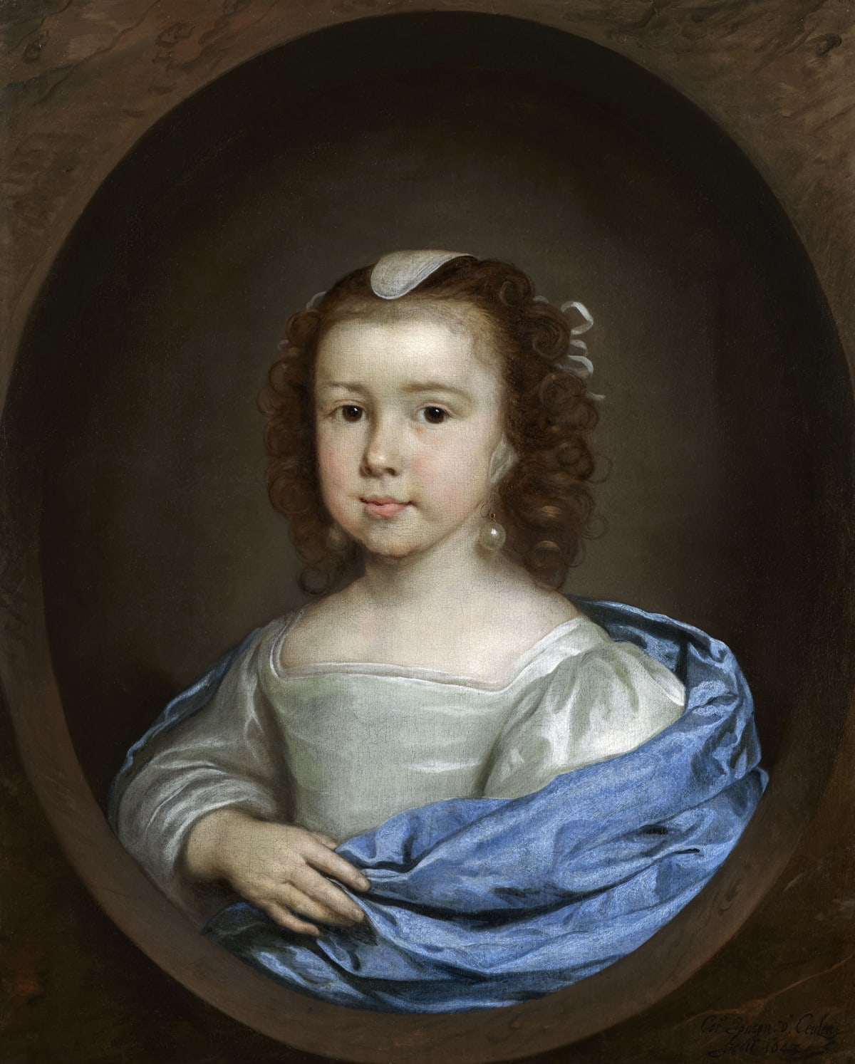 Cornelius Johnson (1593 - 1661) An Unknown Young Girl, 1643 Oil on canvas 25 ½ x 20 7/8 in. (64.7 x 52.9 cm.)