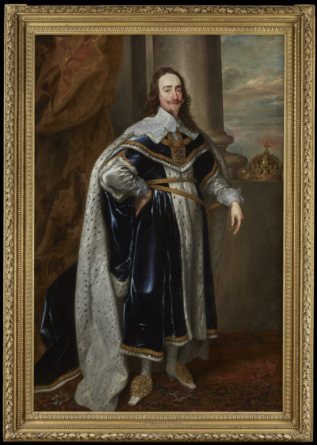 Studio of Sir Anthony van Dyck (1599 – 1641) King Charles I (1600 - 1649) in coronation robes (one of a pair), c.1636-40s Oil on canvas 86 x 56 in. (223 x 149 cm.)