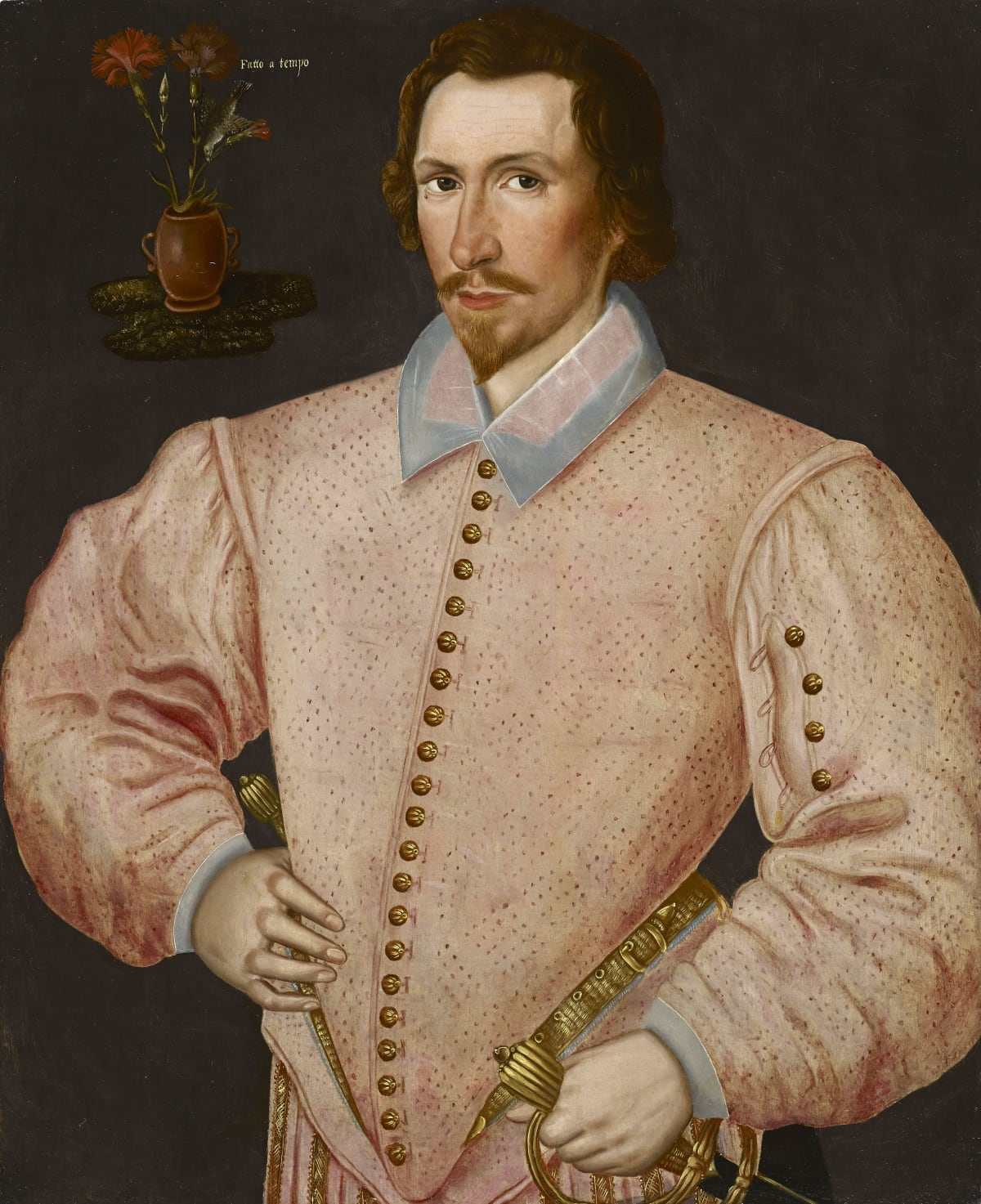 Hieronimo Custodis (fl. 1585 – 1593) An Elizabethan courtier, possibly Sir Thomas Drake of Buckland Abbey, Yelverton (1556 – 1606) , circa 1590 Oil on panel 30 x 24 ¾ in. (76.2 x 62.8 cm.)
