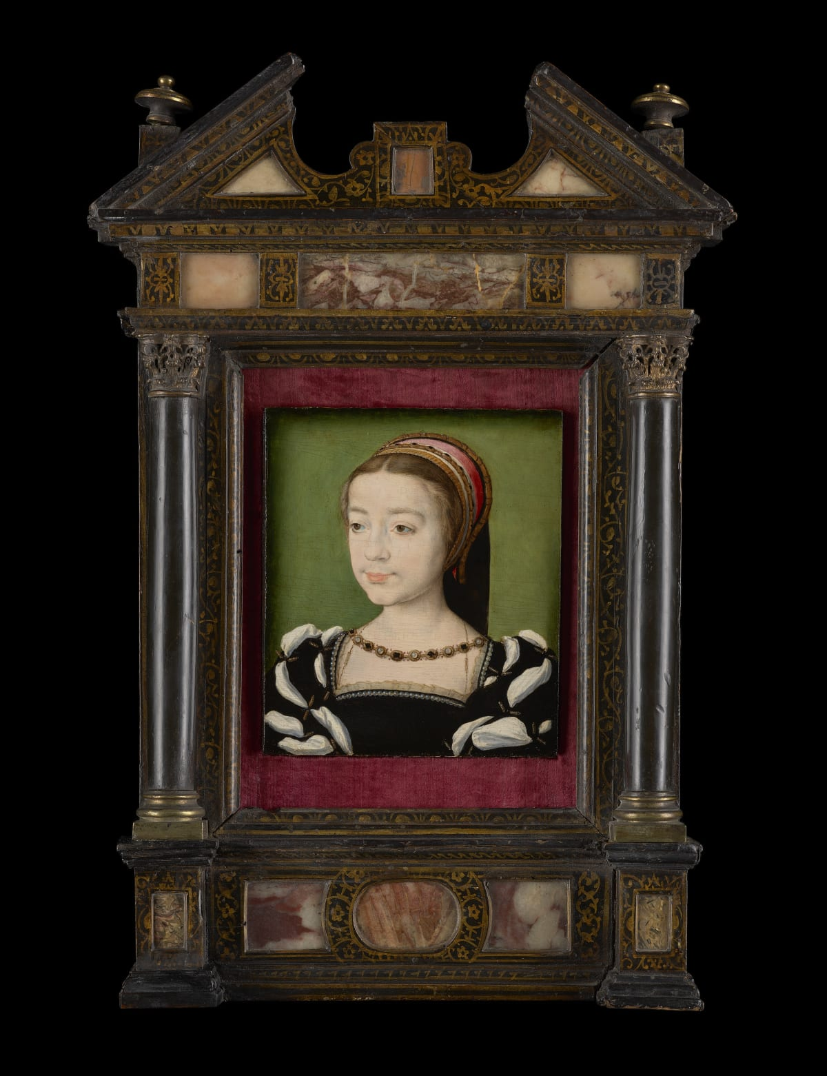 Corneille de Lyon (c.1500 – 1575) Madeleine of France, later Queen Consort of Scotland (1520 – 1537) , Painted between September 1536 – May 1537 Oil on panel 5 ½ × 4 5/8 in. (13.8 × 11.8 cm.)