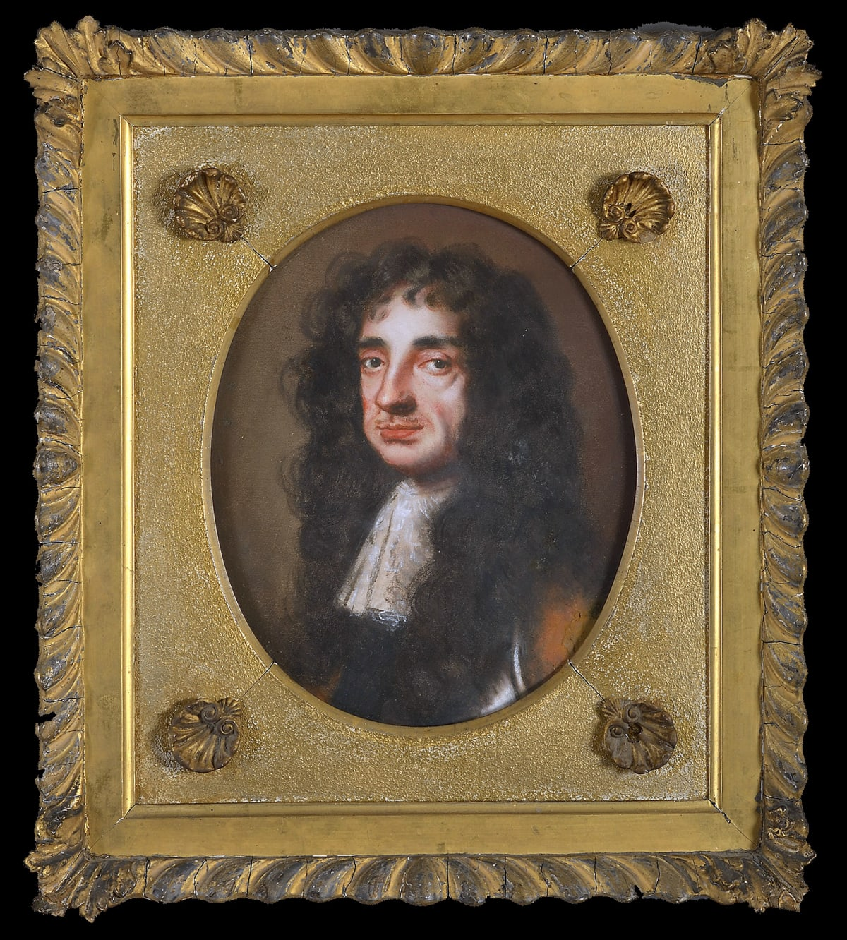 Edmund Ashfield (1640 - 1678) King Charles II (1630 - 1685), c.1675 Pastel, with gouache, on paper over canvas Framed dimensions: 17 x 15 in. (43.18 x 38.1 cm.)