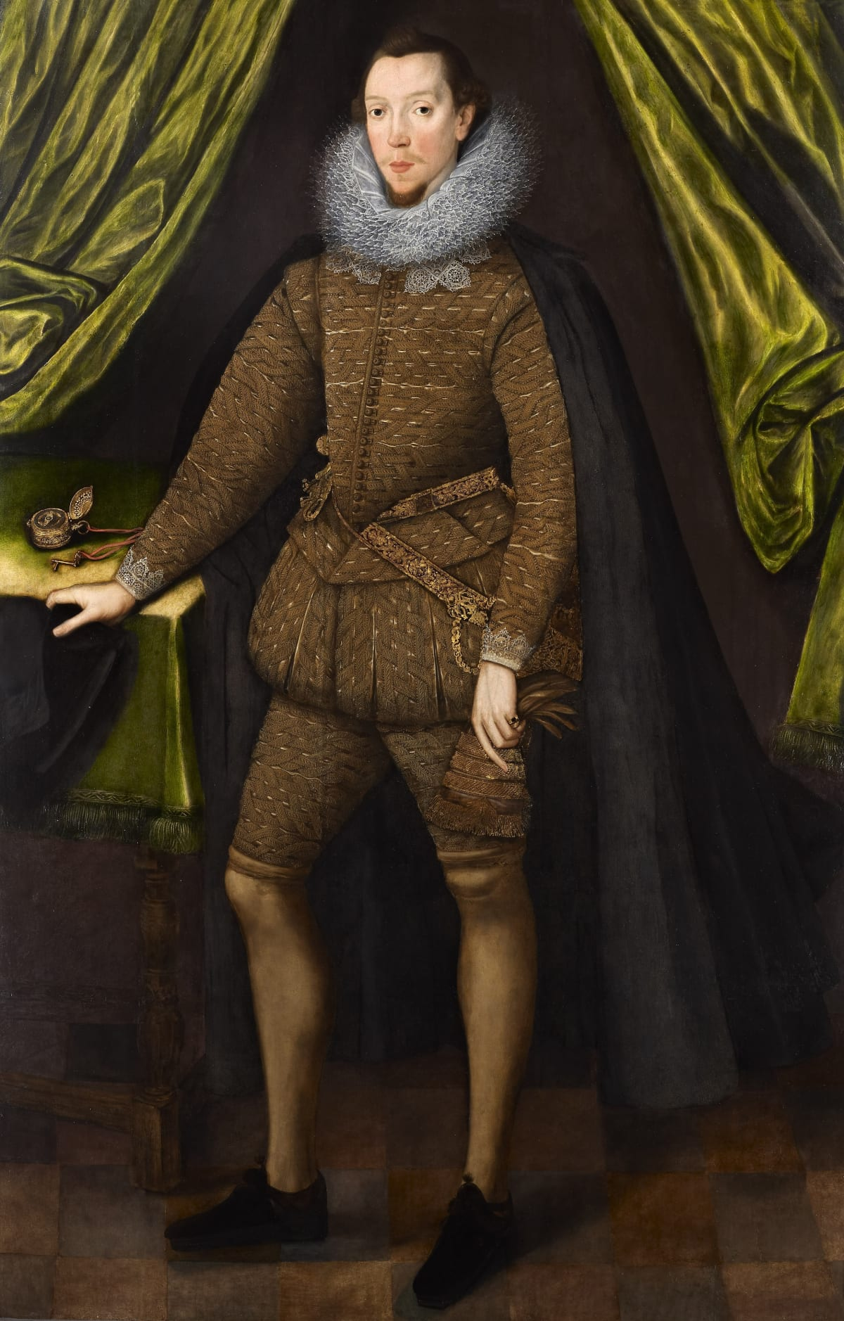 Sir William Segar (c.1565 – 1633) William Fitzwilliam of Milton and Gainspark, later 1st Baron Fitzwilliam of Lifford (c.1570 – 1644), circa 1595 Oil on panel 72 x 49 1⁄2 in. (183 x 125 cm.)