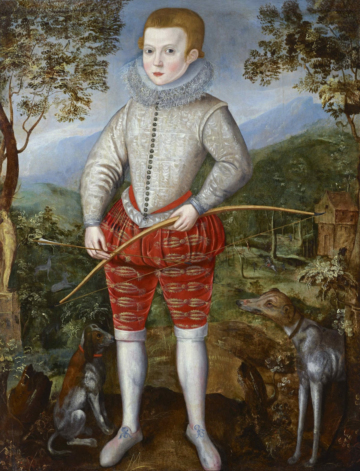 Studio of Robert Peake (c.1551 – 1619) An unknown boy, possibly of the Duncombe family of Battlesden Park, Great Brickhill, Bedfordshire, holding a bow and arrow, in a landscape, 1596 Oil on panel 47 3/8 x 34 ¾ in. (120.5 x 88.2 cm.)
