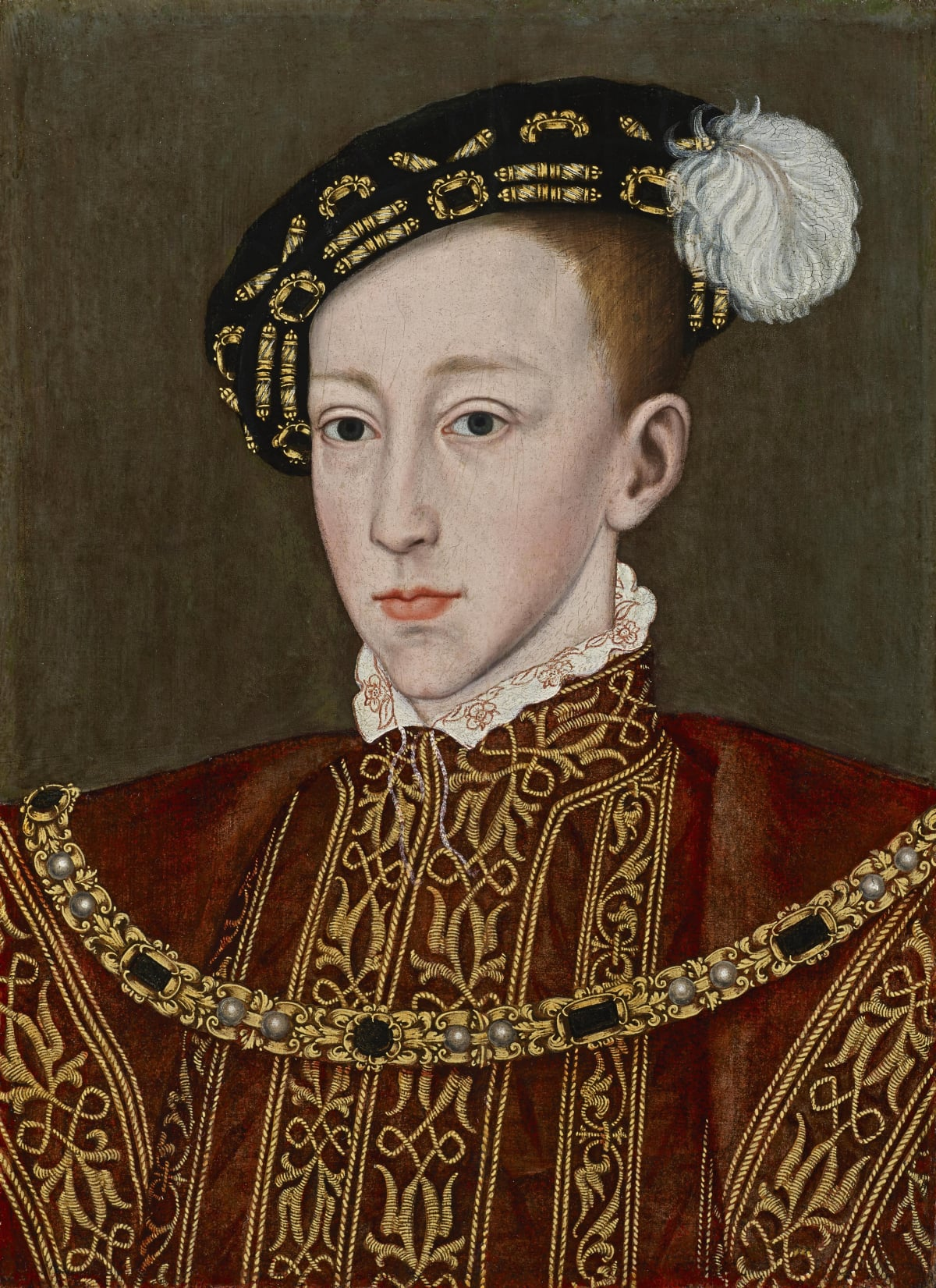 Studio of William Scrots (c. 1537 – 1553) Edward VI of England (1531 – 1553), circa 1550 Oil on panel 17 ¾ x 12 ¾ in. (44.9 x 32.4 cm.)