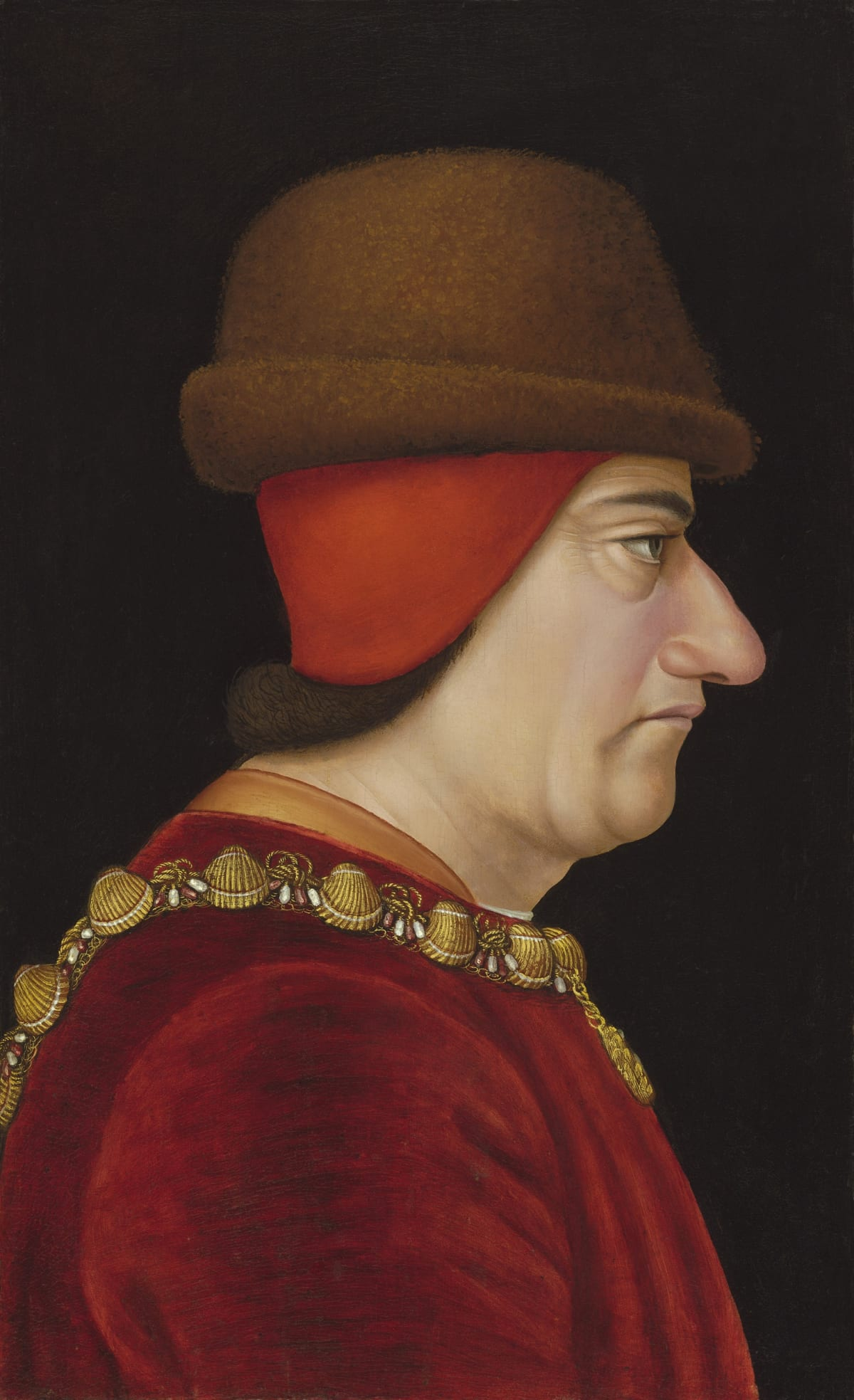 Attributed to Jacob de Litemont (d. 1475?) Louis XI, King of France (1423 – 1483), circa 1469 Oil on panel 14 ¾ x 8 ¾ in. (36.5 x 22.2 cm.)