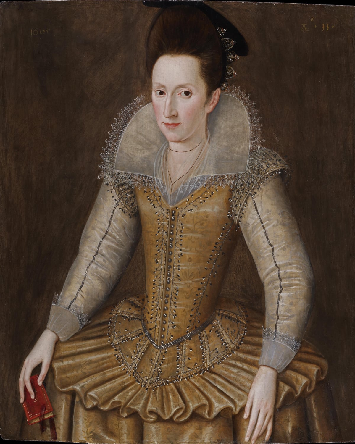 Robert Peake (1551 – 1619) Mary Senhouse (b.1572), 1605 Oil on panel 35 1/16 x 28 3/8 in. (89 x 72 cm.)