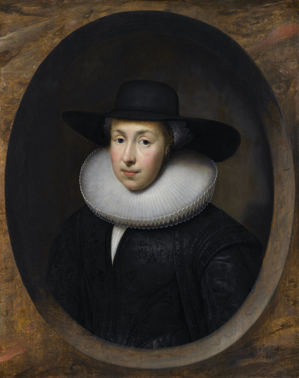 Cornelius Johnson (1593 – 1661) An Unknown Lady, presumably from the Dutch Reformist Community in London, 1630 Oil on panel 30 ¾ x 24 5/8 in. (78.1 x 62.5 cm.)