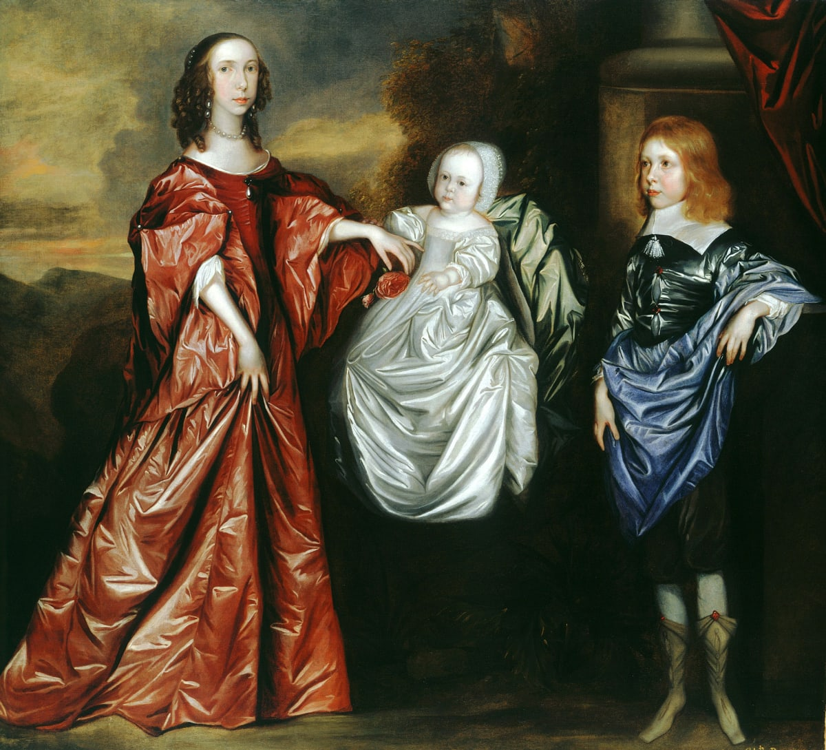 Attributed to Joan Carlile (c.1606 - 1679) Anne (d.1689), Philadelphia (1655 - 1722) and their brother Thomas Wharton (1648 - 1715), later 5th Lord Wharton, c.1656 Oil on canvas 60 1/4 x 66 1/2 in.