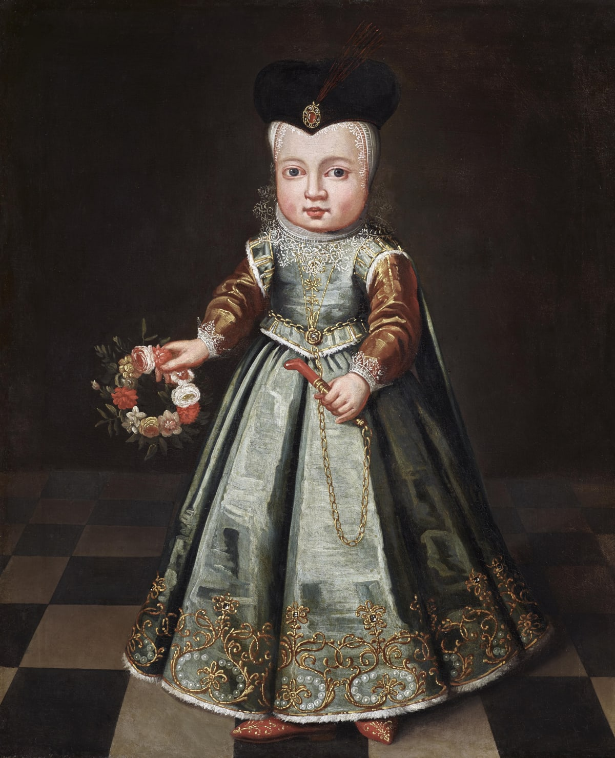 Dutch School, c. 1620 A noble child with a garland of flowers and coral teething toy , c.1620 Oil on canvas 30 1/8 x 25 in.