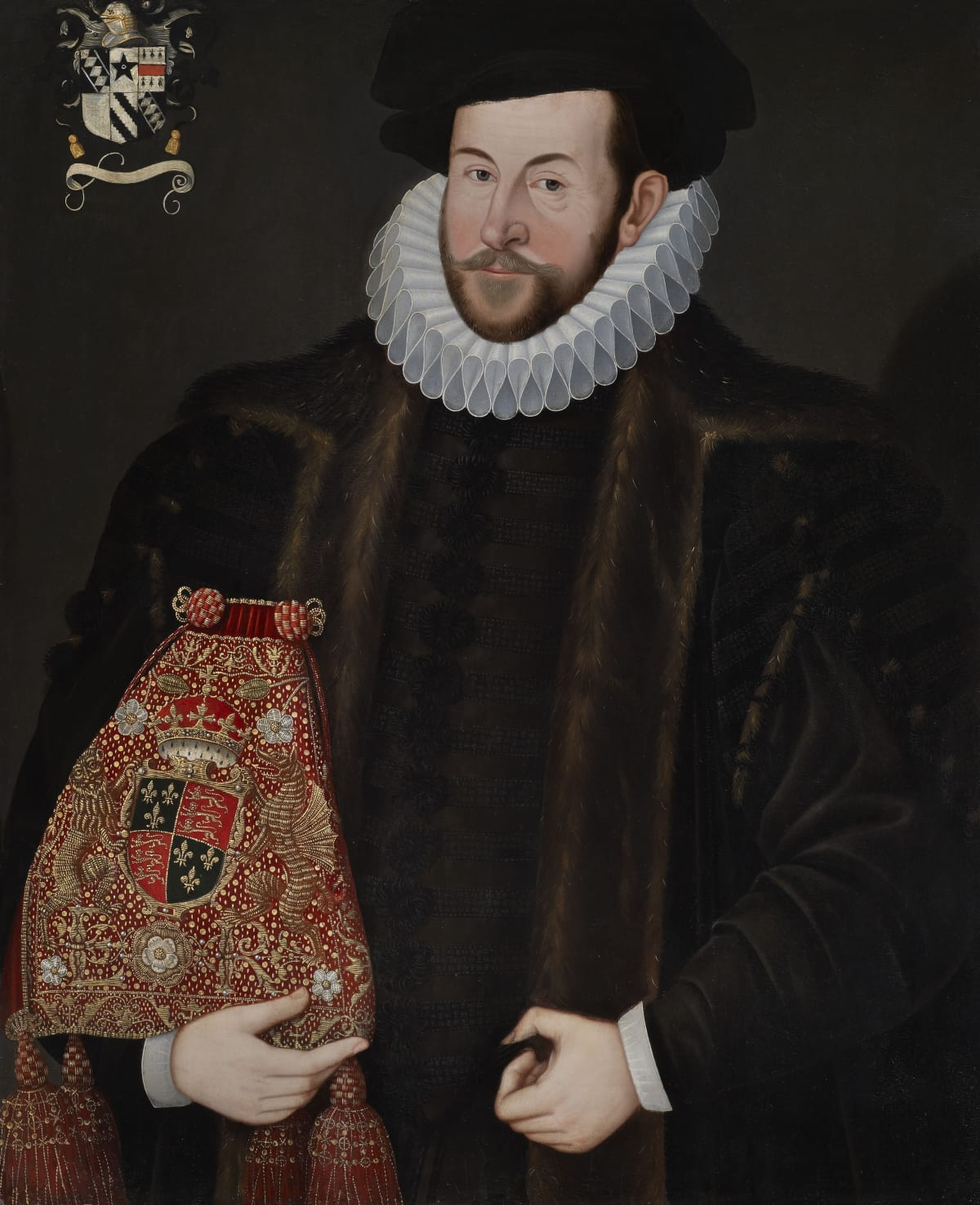 Unknown Follower of Custodis (fl. 1592 – 1612) Sir John Puckering of Kew, Surrey and Weston (c. 1544 – 1596), Speaker of the House of Commons and Lord Keeper of the Privy Seal, circa 1592 Oil on panel 35 x 28 ¾ in. (89 x 73 cm.)