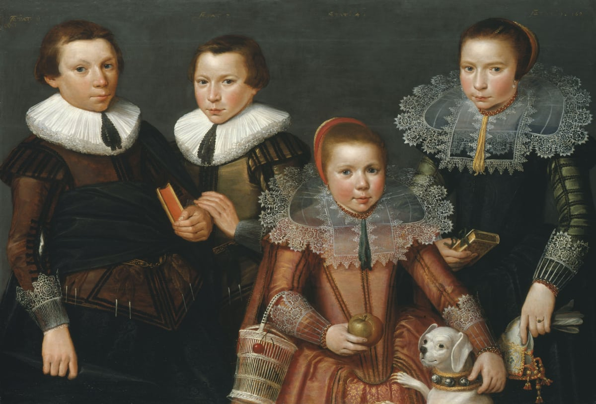Anonymous Flemish Artist (fl. Zeeland, 1627) Four Unknown Children and their Dog, 1627 Oil on panel 32 ½ x 45 ¼ in. (79.5 x 114.8 cm.)