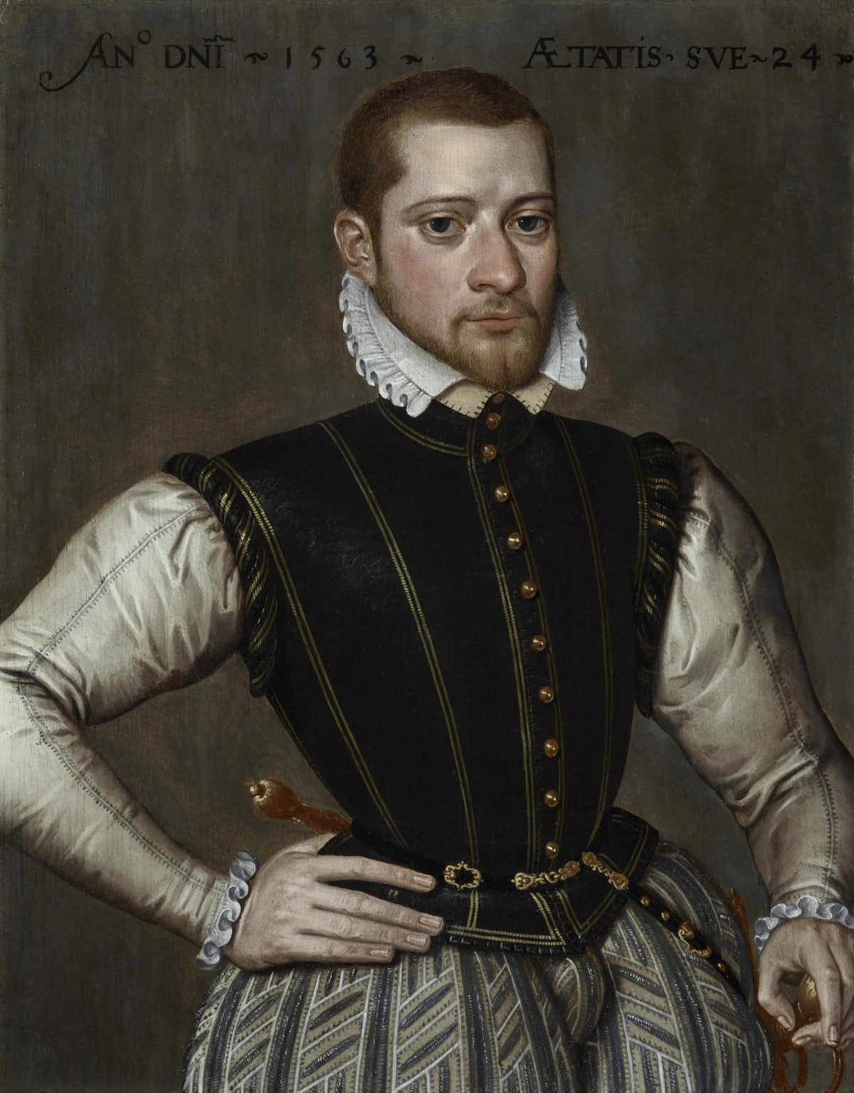 Antonius Claeissens (1541/2 – 1613) Robert van Belle, Lord of Schonewalle (c.1539/40 – c.1572) , 1563 Oil on panel 14 x 10 7/8 in. (35.6 x 27.8 cm.)