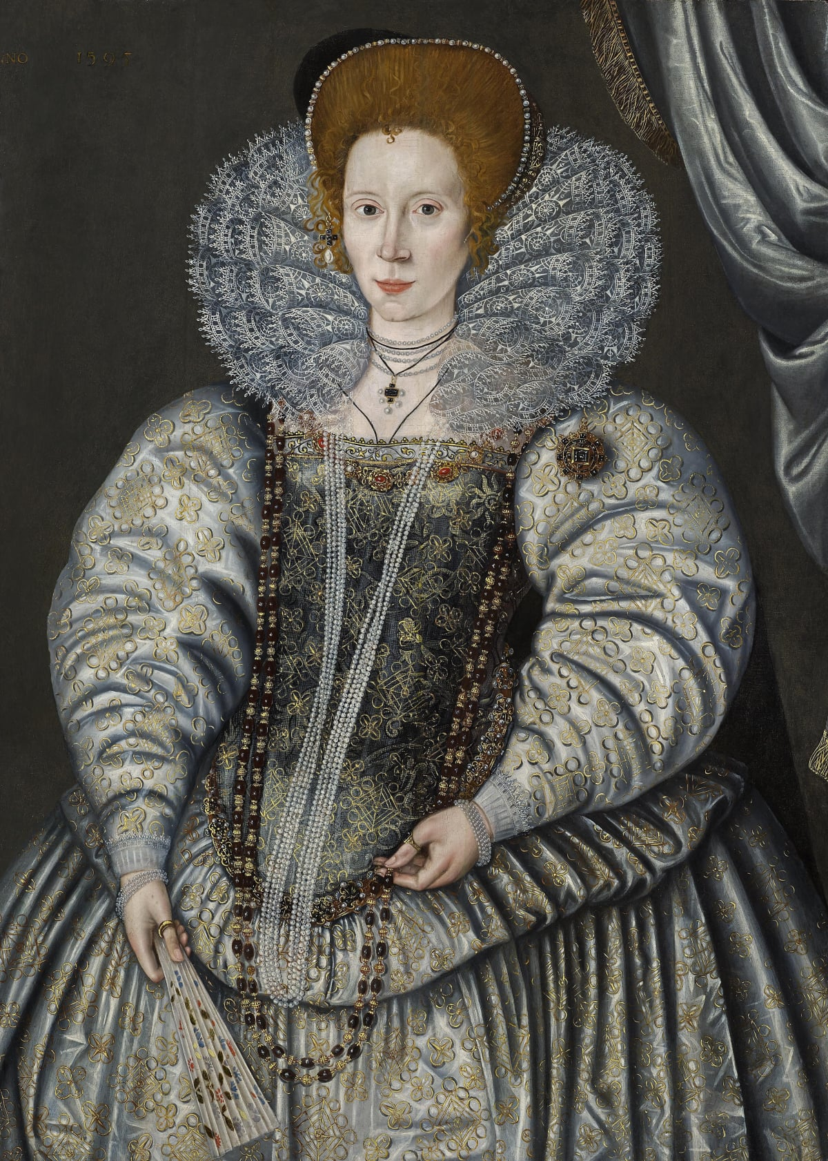 "Sir William Segar (c.1565 – 1633) Elizabeth ""Bess"" Throckmorton, Lady Raleigh (1565 – c.1647) , 1595 Oil on panel 42 ½ x 30 ½ in. (108 x 76.2 cm.)"