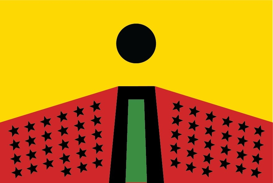 Larry Achiampong PAN AFRICAN FLAG FOR THE RELIC TRAVELLERS' ALLIANCE, 2018 unlimited giveaway poster, 140gsm Matt paper 29.7 x 42 cm Courtesy the artist Commissioned for 3-Phase, a partnership between Jerwood Charitable Foundation, WORKPLACE and Eastside Projects.