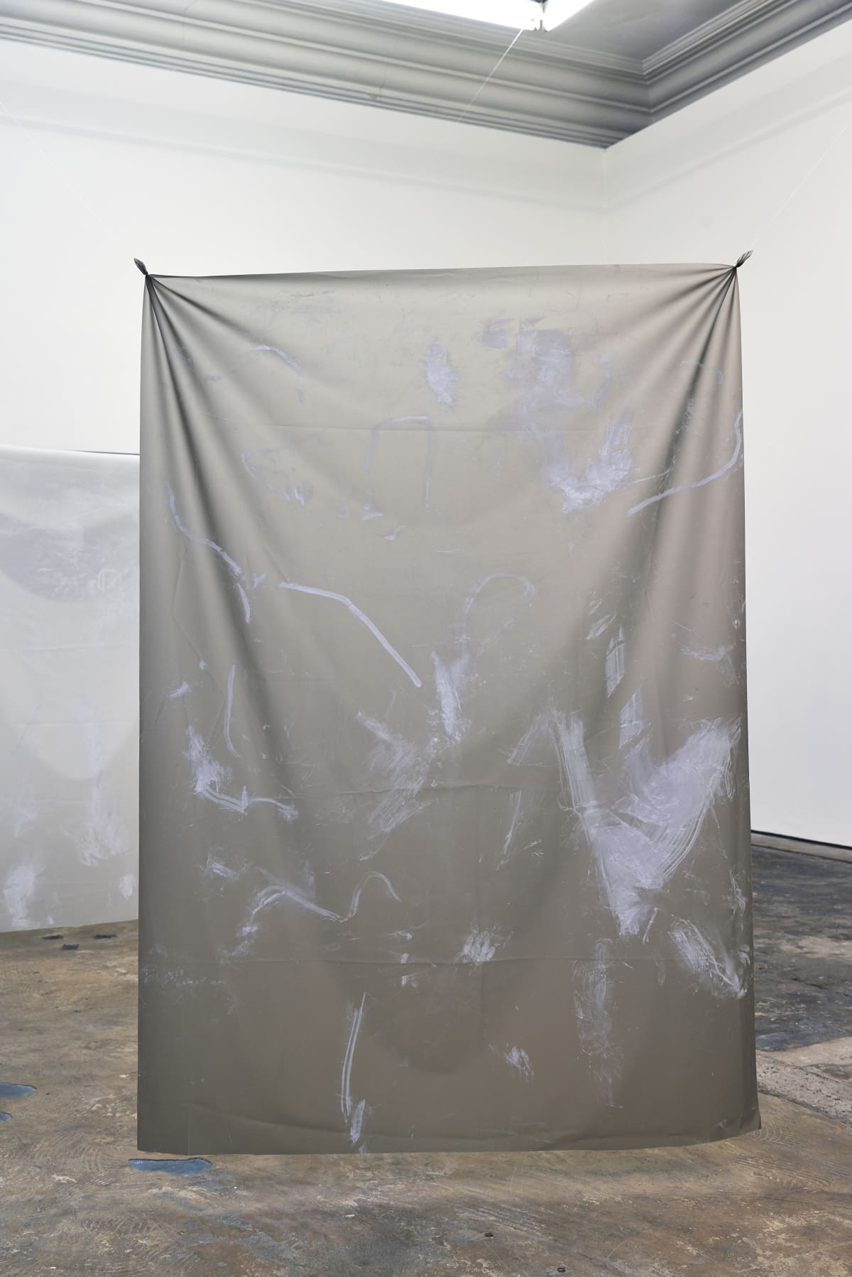 Nicola Singh within [her] reach (Grey #2), 2018 Pigment on Silicone 150 x 100 cm Courtesy of the artist. Photo: John McKenzie Commissioned for 3-Phase, a partnership between Jerwood Charitable Foundation, WORKPLACE and Eastside Projects.