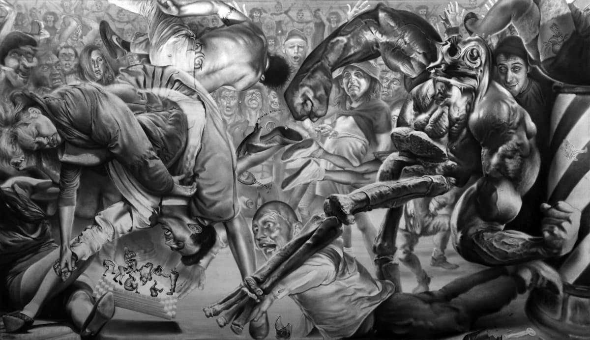 Robert McNally Blackeye Fridays 2016 Graphite on paper, 55cm x 92cm Courtesy of David Risley gallery Copenhagen