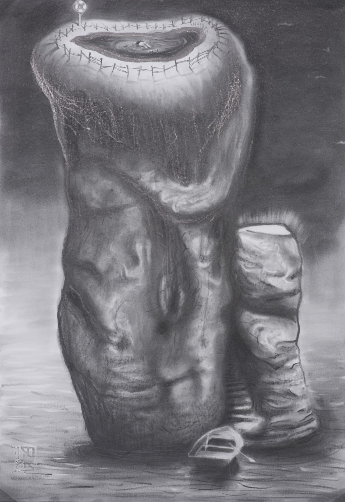Robert McNally  Drowned in loneliness, 2010 - 2013  Graphite on paper  48 x 33 cm  18 7/8 x 13 in