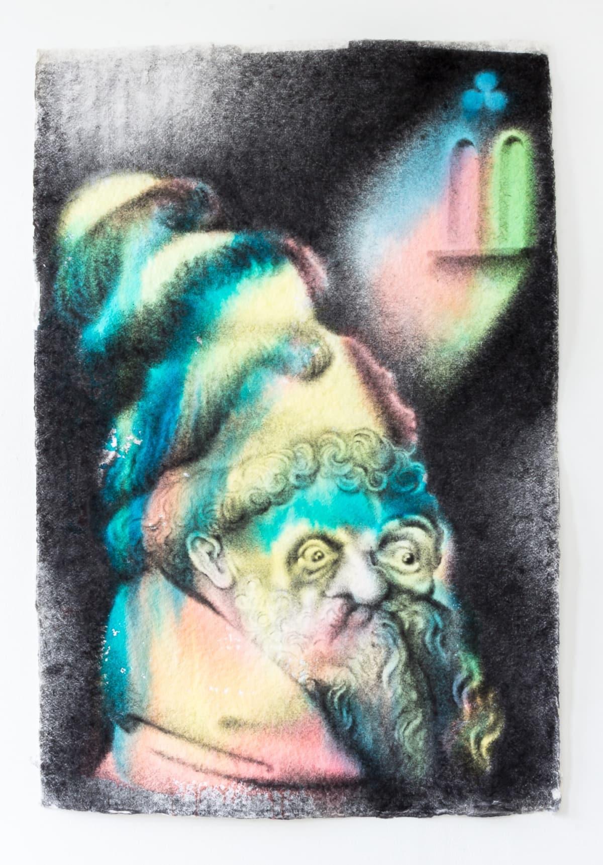 Robert McNally  Roger Bacon, 2017  Graphite powder & watercolour on handmade 1200g paper  101.9 x 68.5 cm  40 1/8 x 27 in