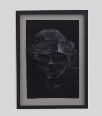 Robert McNally  Ford Capri, 2015  Pencil on ultra-black light absorbing foil  37.5 x 27.5 cm  14 3/4 x 10 7/8 in  Framed  Courtesy of David Risley gallery Copenhagen