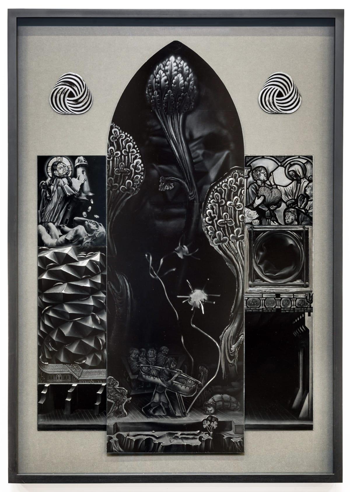 Robert McNally  Bonafide Malafide, 2016  Graphite on ultra-black carbon nanotube coated aluminium  102 x 72 cm  40 1/8 x 28 3/8 in  (Framed)  Courtesy of David Risley gallery Copenhagen