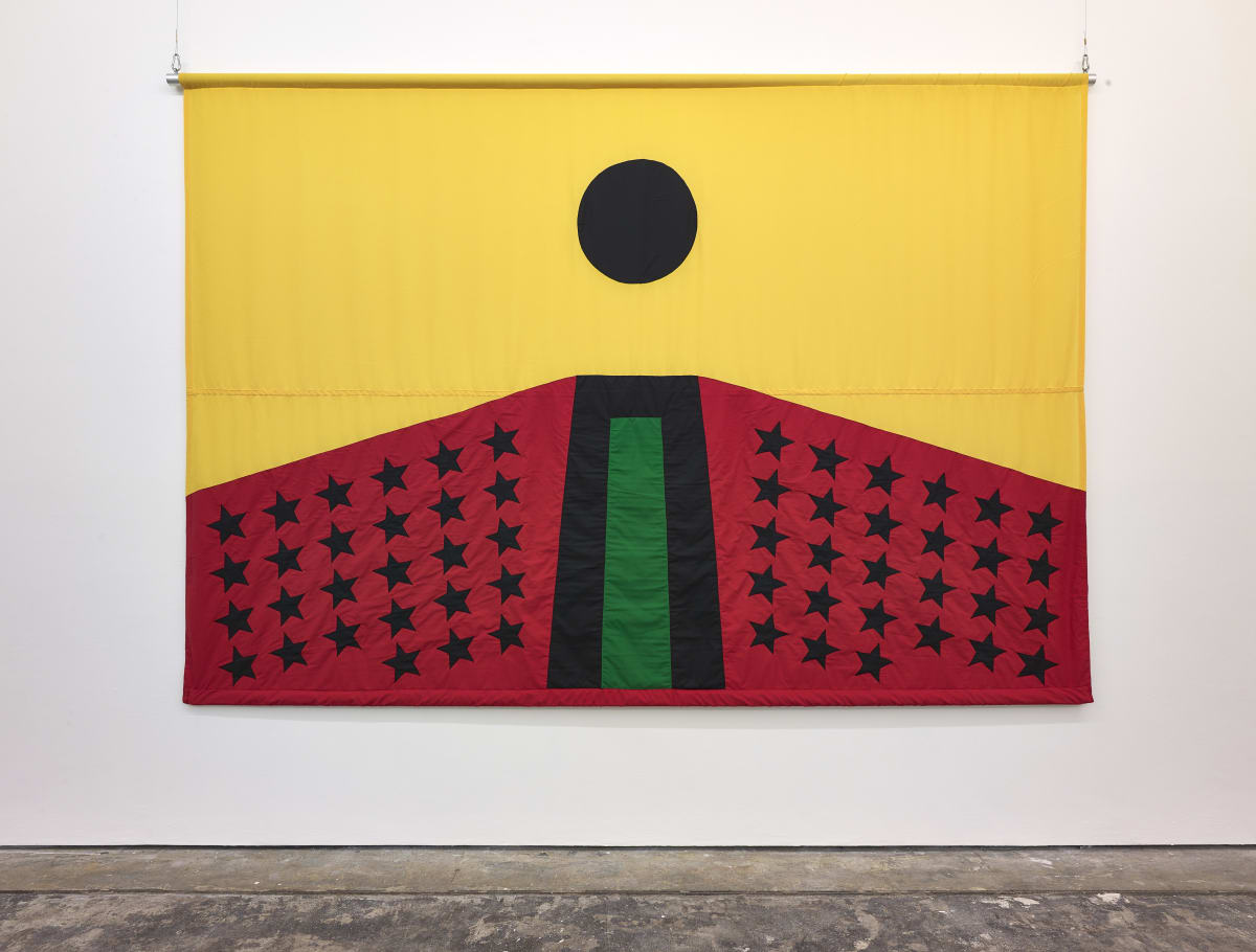 Larry Achiampong PAN AFRICAN FLAG FOR THE RELIC TRAVELLERS' ALLIANCE, 2017 Appliqué Flag 200 x 300 cm Courtesy of the artist. Photo: John McKenzie Commissioned by Somerset House.