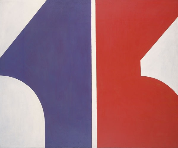 """<span class=""""artist""""><strong>Robyn Denny</strong></span>, <span class=""""title""""><em>Red, White & Blue</em>, 1959</span>"""